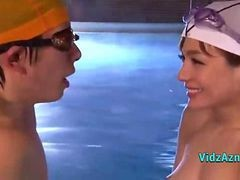 Asian Girl In Swimsuit Licked Fingered Giving Blowjob For Guy At The Swimming Pool
