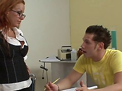 milf teacher in stockings and boots fucks 2 students