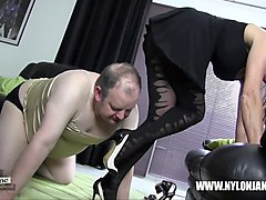 submissive slut sucking milf high heel for satin panties nylon stocking cock foot worship and wank